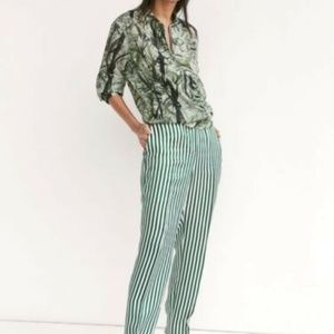 Massimo Dutti High Waisted Relaxed Striped Pants